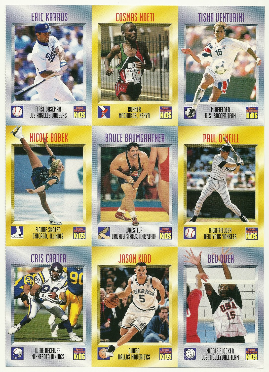 SI SPORTS ILLUSTRATED FOR KIDS Sheet 9 Trading Cards #388-396 JASON KIDD
