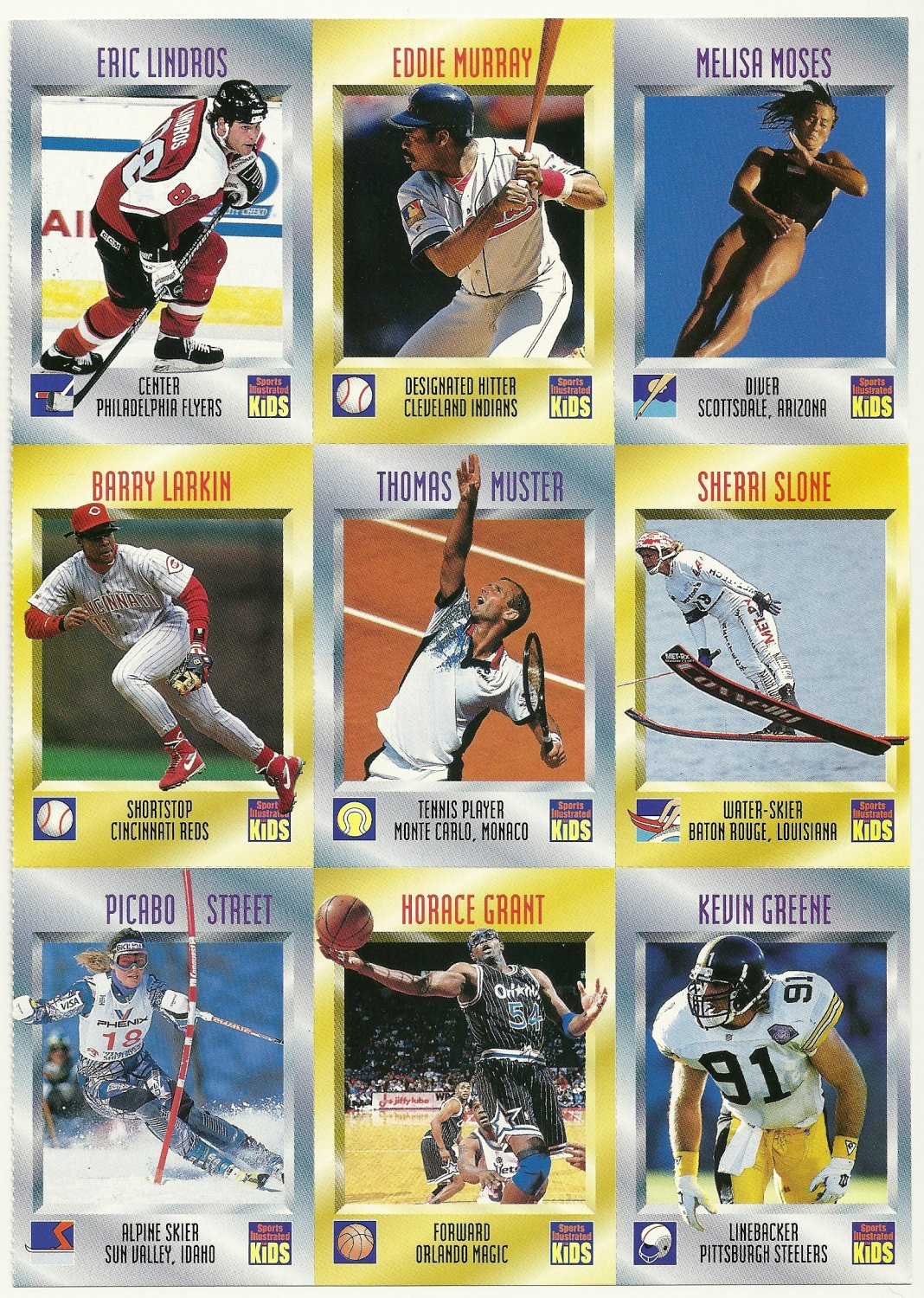 SI SPORTS ILLUSTRATED FOR KIDS Sheet 9 Trading Cards #397 to #405 ERIC LINDROS