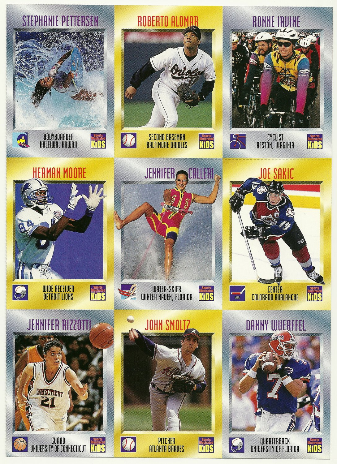 SI SPORTS ILLUSTRATED FOR KIDS Sheet 9 Trading Cards #496-504 ROBERTO ALOMAR