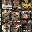 TEAM FORD RACING Perforated Panel of 8 Trading Cards 2000 Season