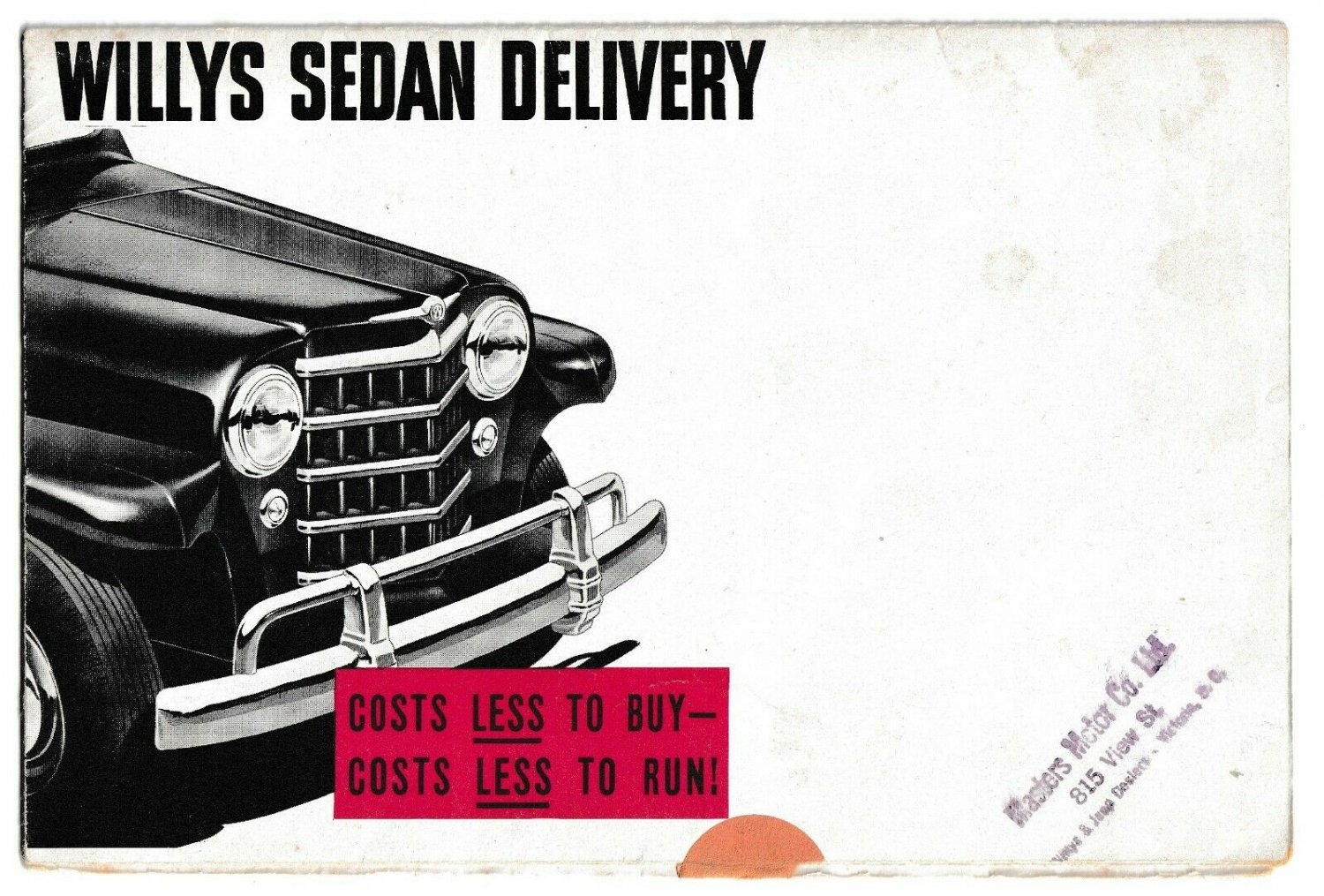 WILLYS SEDAN DELIVERY Large Fold-Out Sales Brochure ca 1963