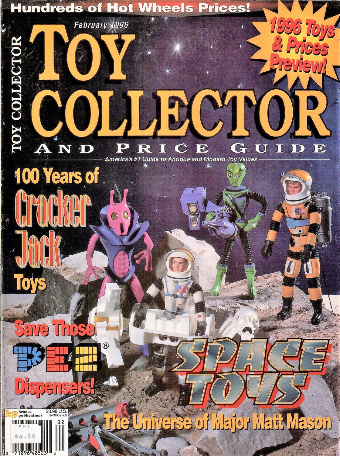 TOY COLLECTOR AND PRICE GUIDE MAGAZINE February 1996 PEZ Cracker Jack SPACE TOYS