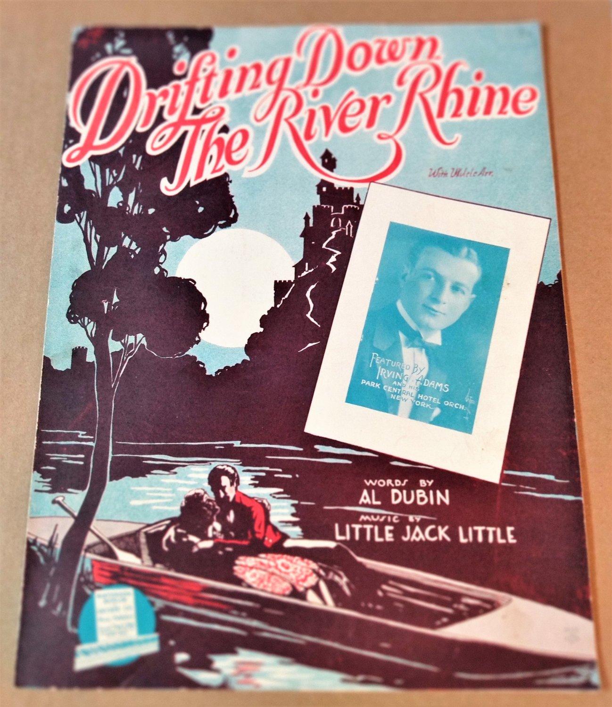 DRIFTING DOWN THE RIVER RHINE Piano Vocal Ukulele Sheet Music IRVING ADAMS ©1928