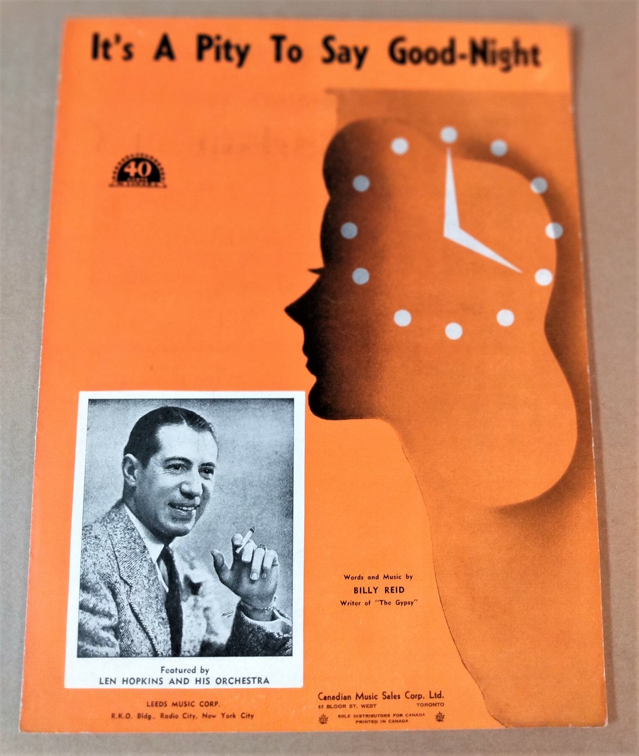 IT'S A PITY TO SAY GOOD-NIGHT Piano Vocal Sheet Music LEN HOPKINS © 1946