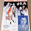 THE WEDDING OF JACK AND JILL Novelty Fox-Trot Song Sheet Music BEN BERNIE © 1935