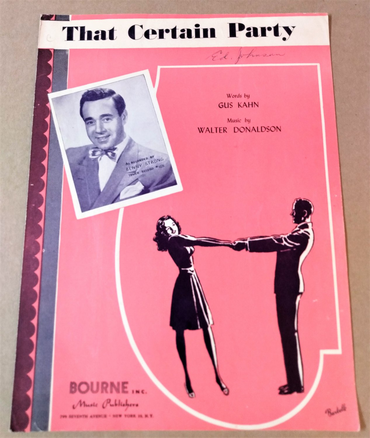 THAT CERTAIN PARTY Piano/Vocal Sheet Music BENNY STRONG © 1925