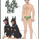 MAGNUM P.I. (TOM SELLECK) Paper Dolls from Adult Activity Book DOBERMANS 2 Pages