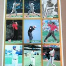 Legends Sports Memorabilia Sheet of 9 Trading Cards - 3 DIFFERENT TIGER WOODS
