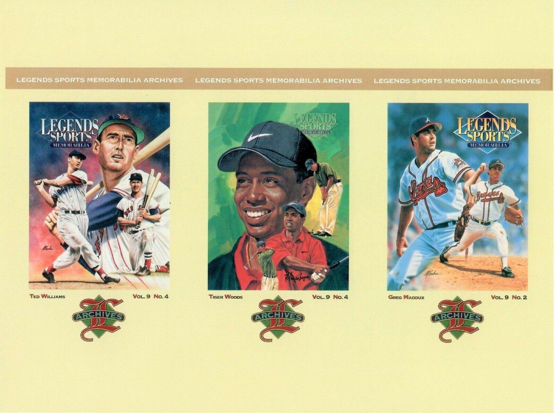 TIGER WOODS Ted Williams GREG MADDUX - 3 Legends Sports Memorabilia Postcards