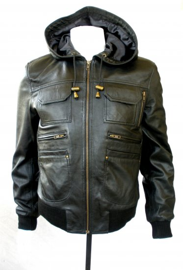 NWT Men's Hooded Bomber Leather Jacket Style # M1