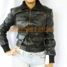NWT Women's Cargo Flap pocket Leather Jacket Style 22F