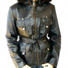 NWT Women's Fox Fur Hood Leather Jacket 44F TOMA