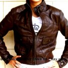 NWT Women's Bomber Style Leather Jacket Style 2100DB