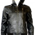 NWT Men's Hooded New Age Bomber Leather Jacket Style # M6
