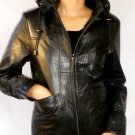 NWT Women's Removable Hooded Leather Jacket Style 9F