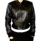 Women's Crewneck Rib Cropped Leather Jacket Style F-110
