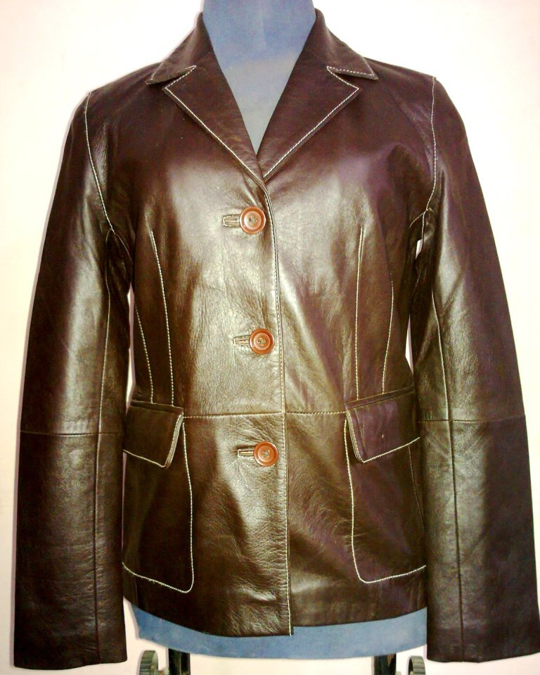 Women's 3 Button Blazer Style Leather Jacket FS-10