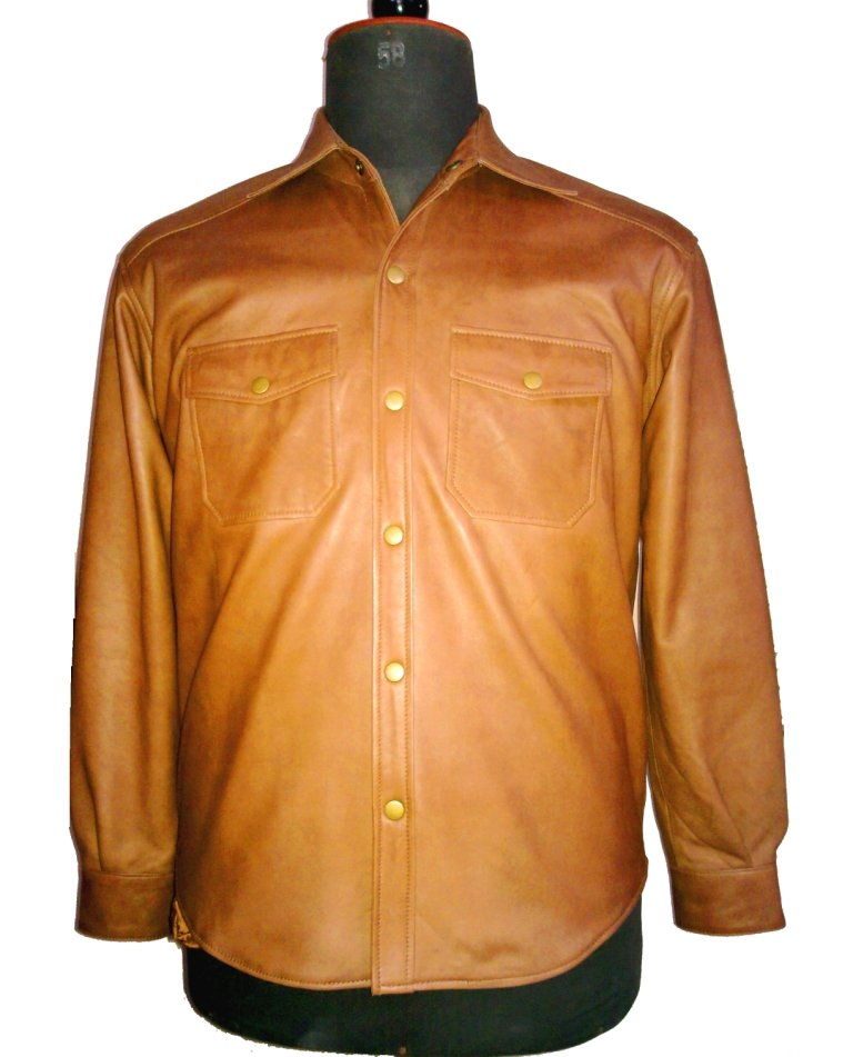 NWT Men's Classic Leather Shirt Style M82 Sheep Skin