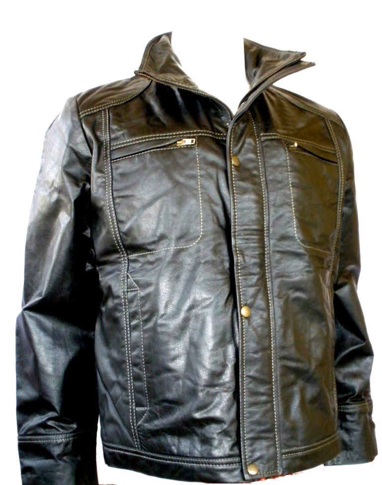 NWT Men's High Neck Leather Jacket Style M50