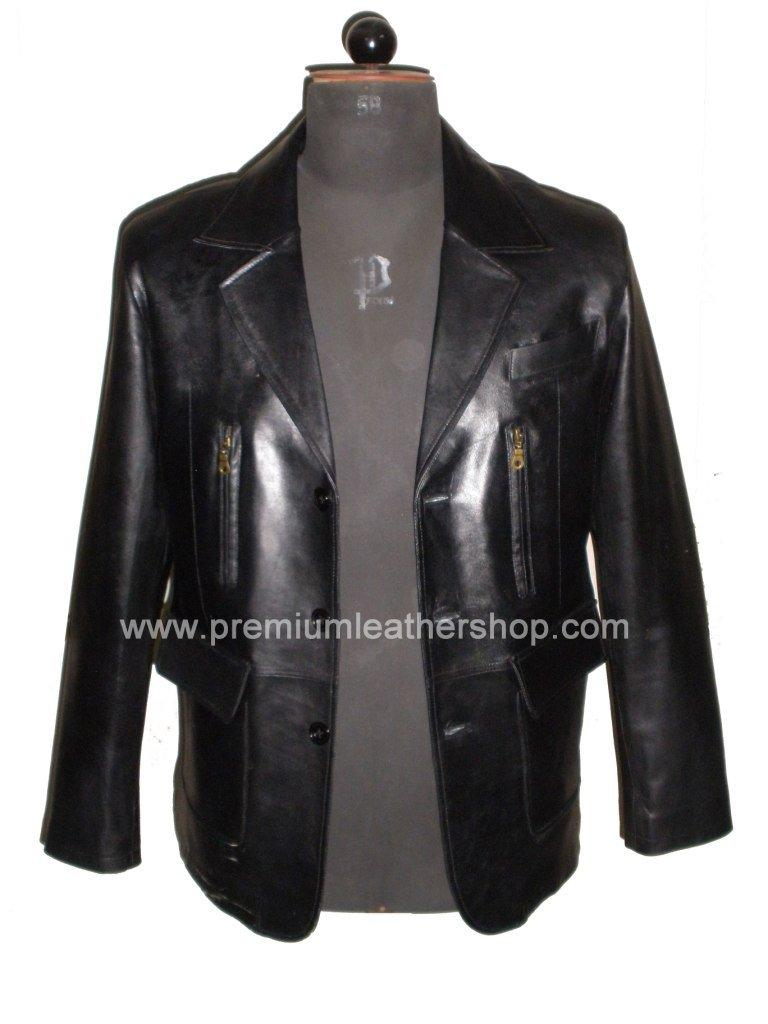 NWT Men's 3 Button Leather Blazer Jacket Style M26