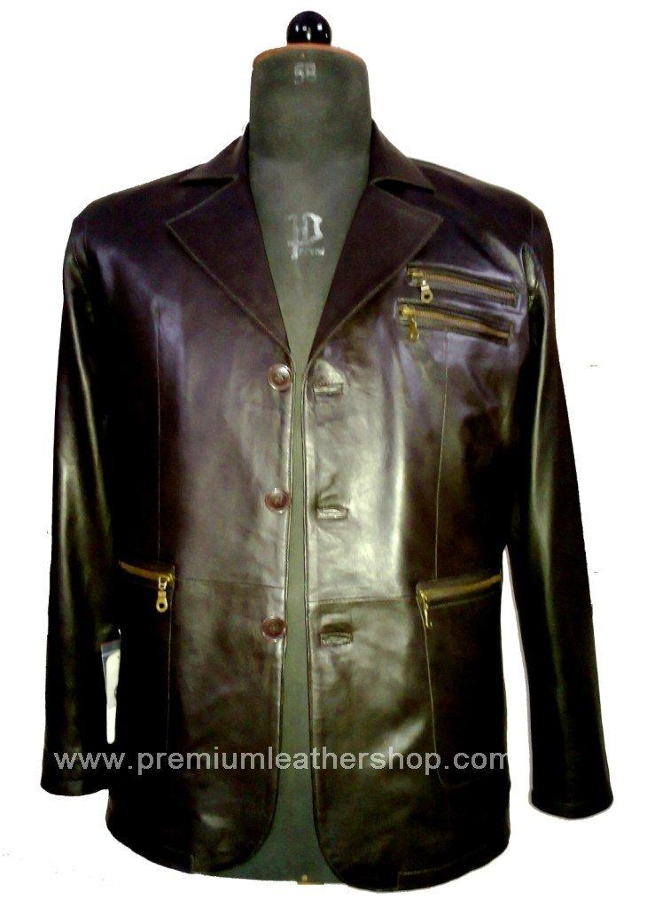 NWT Men's 3 Button Leather Blazer Jacket Style M18