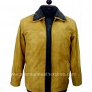 NWT Men's Bomber Remove able Collar Sheep Snuff Leather Jacket Style M77