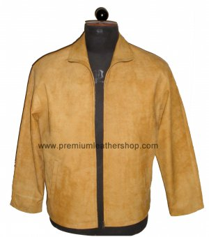 NWT Men's High Neck Distressed Finished Sheep Snuff leather Jacket Style M28