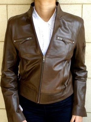 "NWT Women's Cropped Bomber Leather Jacket Style 20F Size Size ""M"""