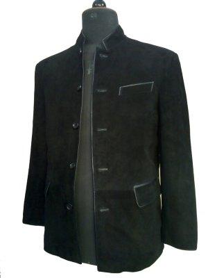 Men's 5 Button Mandarin Collar Goat Suede Leather Blazer Style MD-14