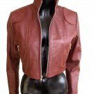 NWT Women' s High Neck Cropped Leather Jacket Style 3800