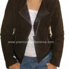 Women's Cropped Biker Jacket Suede Leather with finish leather trim Style 3300