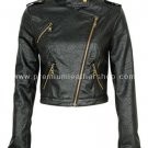 NWT Women's Cropped Biker Leather Jacket Style 12F