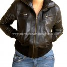 NWT Women's Cropped High Neck Ribbed Bomber Leather Jacket Style 68F