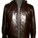 NWT Men's High Neck Retrieve able hood Bomber Leather Jacket Style M52