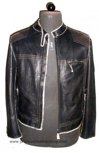 Men's Biker Leather jacket Style M25 Size 3XL