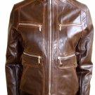 Women's Mandarin Collar Cropped Bomber Leather Jacket Style 4600 Size Medium