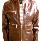 Women's Mandarin Collar Cropped Bomber Leather Jacket Style 4600 Size Large