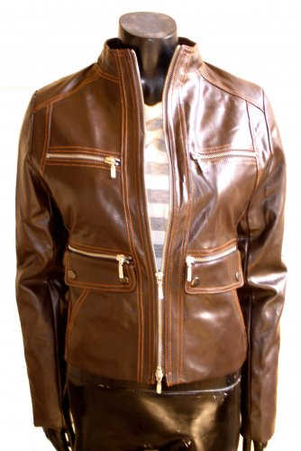 Women's Mandarin Collar Cropped Bomber Leather Jacket Style 4600 Size Large