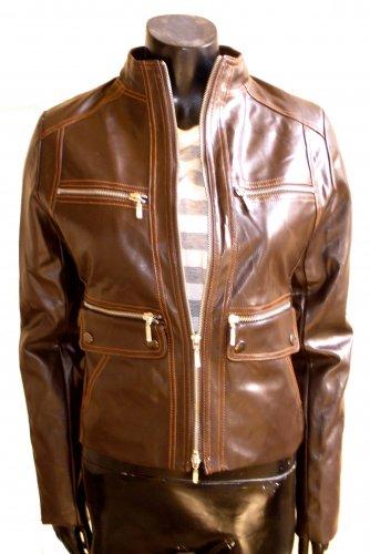 Women's Mandarin Collar Cropped Bomber Leather Jacket Style 4600 Size XL