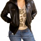 Ladies Cropped High Neck Bomber Leather jacket Style 68F Size Small color Black