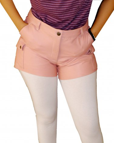Women's Cargo Pockets Leather Shorts Style WS6