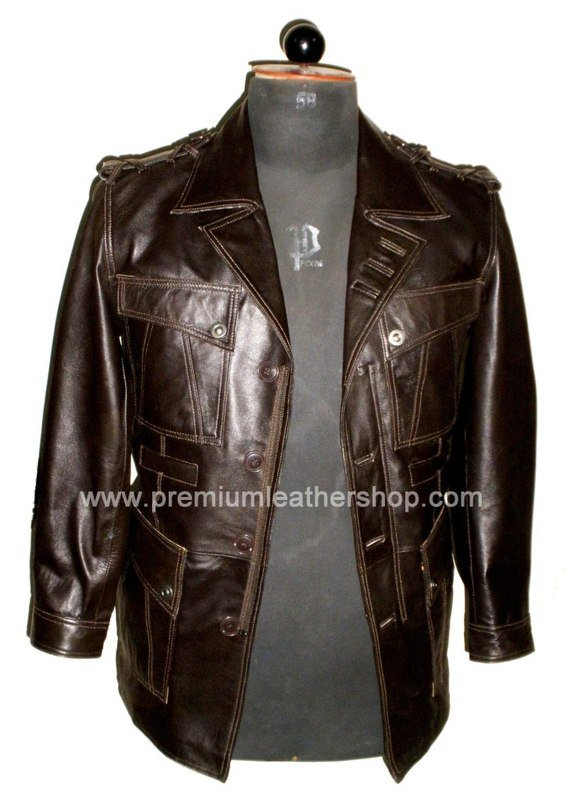 "Men's Blazer Spy Series Leather Jacket MD12 Big & Tall Size 5X (58"" chest)"