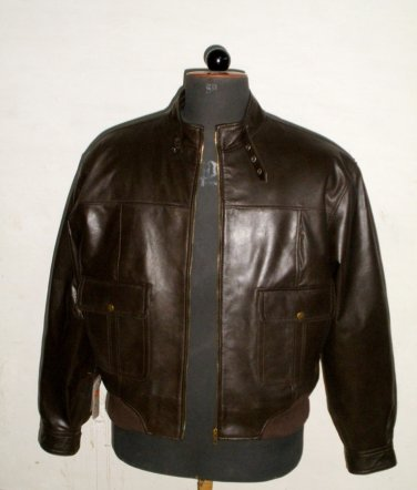 """Men's Bomber Leather Jacket Style M21 Big & Tall Size 4XLT (56"""" Chest)"""