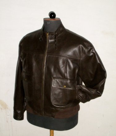 """Men's Bomber Leather Jacket Style M21 Big & Tall Size 6X (60"""" Chest)"""