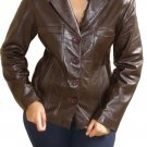 Women's 4 Button Leather Blazer Style 2300 Size Small Color Dark Brown