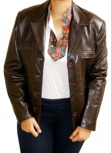 Women's 4 Button Leather Blazer Style 2300 Size XL Color Dark Brown