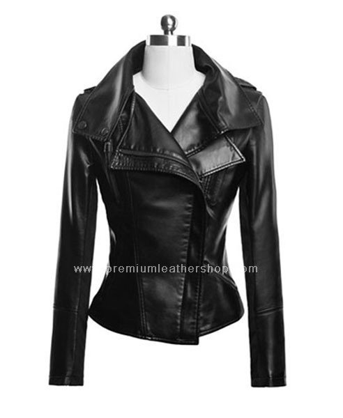 NWT Women's Double Front Collar Flaps Motorbike Leather Jacket Style 77F