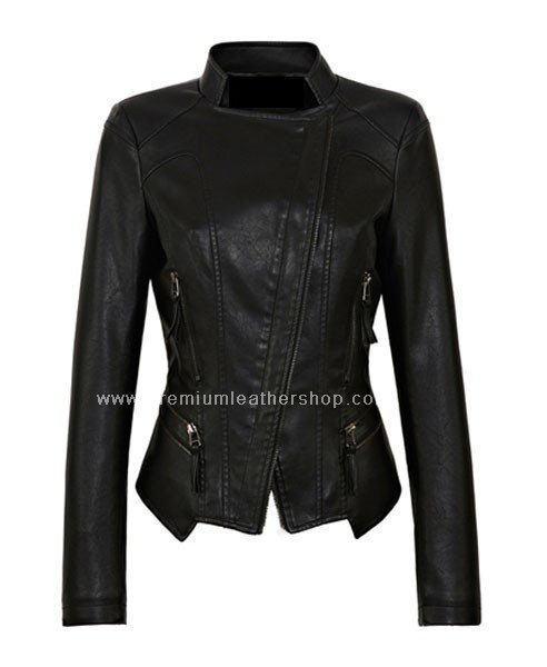 NWT Women's Mandarin Collar Motorbike Leather Jacket Style 73F