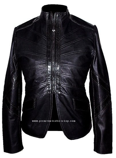 NWT Women's Mandarin Collar Leather Jacket Style 2440