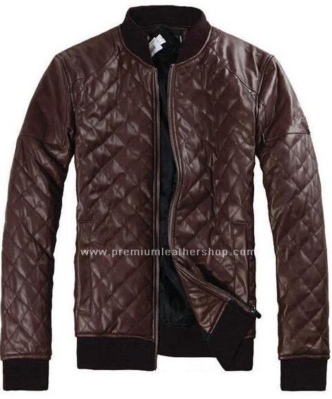 "Men's Leather Jacket Diamond Design stitch Style M27 Size 5X (58"" Chest)"